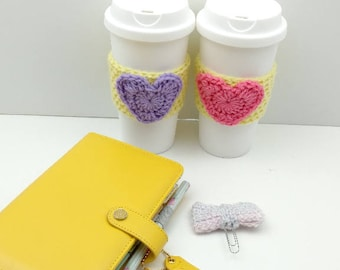 Yellow Crochet Cup Cozy: Coffee/Tea Sleeve with Heart (Pink or Purple)    [057]