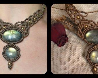 macrame necklace with labradorite stone,gypsy necklace,bohemian