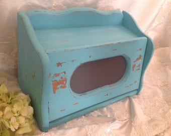 Rustic Bread  Box Vintage Wooden Handpainted Turquoise Shabby Chic French Counrty Cottage Distressed