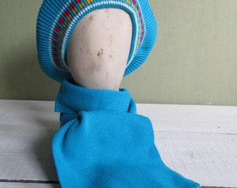 Vintage kids teen knitted beret/set beret and scarf/blue berets/ set of 2/Winter hat/beret winter warm beret