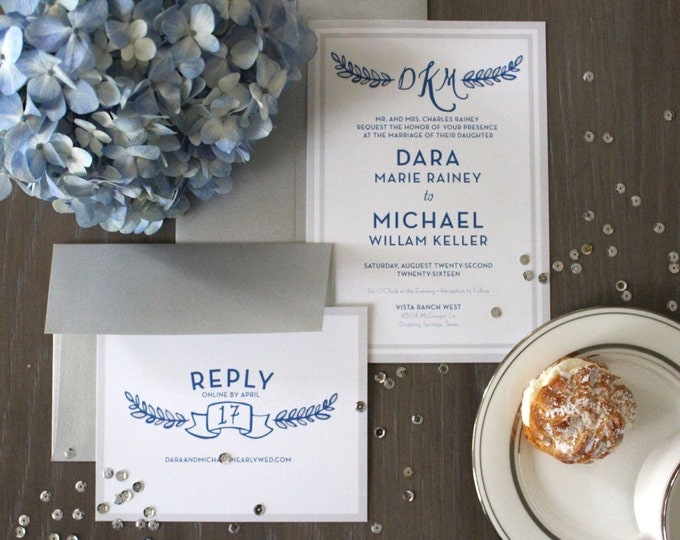 PRINTABLE Wedding Invitation Suite | Laurel Wreath in Blue & White
