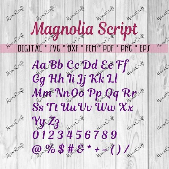 MAGNOLIA SCRIPT Alphabet MONOGRAM Letters Svg, Dxf, Fcm