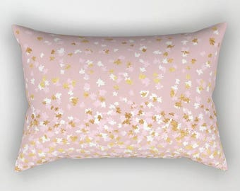 Lumbar Throw Pillow - Floating Confetti Dots - Pink Blush White Gold - Rectangle Cover and Insert - 17x12 20x14 25.5x18 28x20
