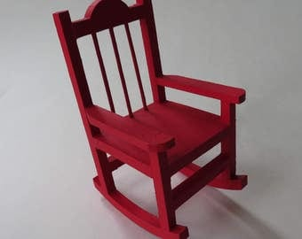"""Red Mini Rocking Chair, Painted Rocking Chair, Rocking Chair Home Decor, Country-style Decor, 5 1/2"""" Rocker, Ready To Ship"""