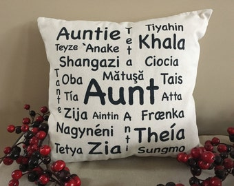 Aunt/Auntie in Many Languages Natural Canvas Pillow/Aunt Gift/Auntie Gift