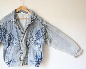 Oversize coat 90's Acid wash denim