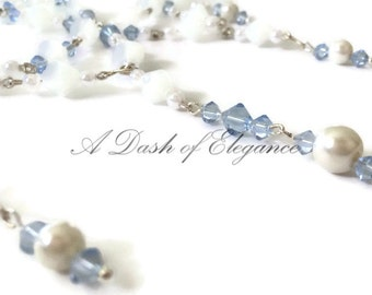 White and Baby Blue Beaded Necklace