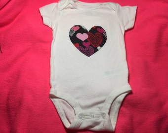 Hearts on Hearts Valentine's Day Bodysuit or Shirt for Infants and Toddlers Handmade