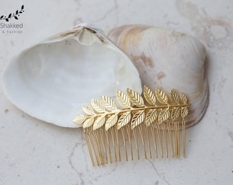 Bridal Gold Hair Comb Laurel Leaf Headpiece Grecian Wedding Bridal Gold Hair Comb Bridal Hair Accessories Bridal Jewelry Bridesmaids Gift