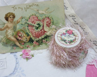 6 yards Pale PINK Tinsel Glitter Trim, Twine, Painted Wooden Spool with Victorian Valentines Art, Gift Bag, Gift Tag, Craft, Sew, Knit