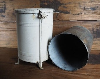 shabby chic antique industrial metal foot lever trash can from the 1920u0027s