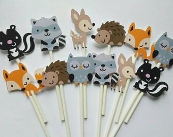 Woodland theme cupcake toppers - set of 12, deer, skunk, raccoon, hedgehog, fox, owl cupcake