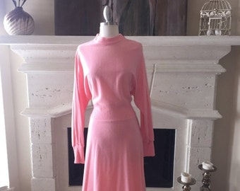 EVERYTHING ON SALE Domino ~ Vintage Pink Long Sleeve Dress ~ Size 16
