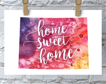 Colorado Home Sweet Home Art Print, CO Watercolor Home Decor Map Print, Giclee State Art, Housewarming Gift, Moving Gift, Hand Lettering