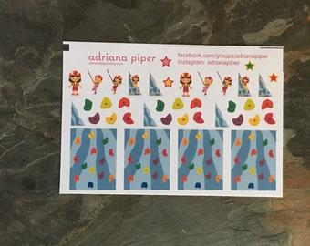 Rock Climbing Stickers for Erin Condren Life Planner, Plum Paper Planner, Filofax, Kikki K, Calendar or Scrapbook SH-