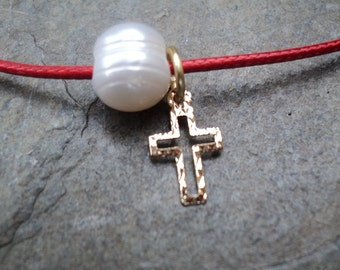 Adjustable Cord with Cross and Pearl / lace adjustable with cross and Pearl