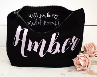Will you be my Bridesmaid Gift Make Up Bag - Personalised Cosmetic Bag, Maid of Honour Gift, Unique Gift for Bridal Party Bags,  Makeup Bags