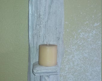 Whitewashed Driftwood Candleholder from Lake Havasu