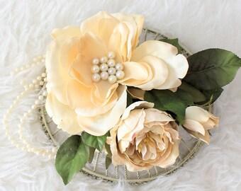 Flower Fascinator, Flower Hair Clip, Hair Accessory, Rustic Flower Headpiece, Woodland Fascinator,Cream Flowers,Accessories,Flower Headband