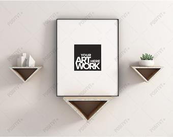 frame mockup portrait triangle shelves mockup poster frame photography style portrait mockup poster mockup minimalist mockup