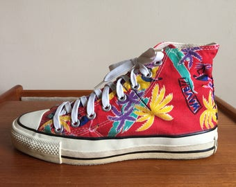 1980s Converse All Star Chuck Taylor Made in U.S.A Tropical Seapunk High Tops