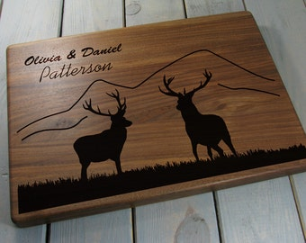 Personalized Cutting Board - Wedding Gift, Deer Gift, Couple Cutting Board, Custom Cutting Board, Deer, Mountains, Christmas Gifts, Walnut