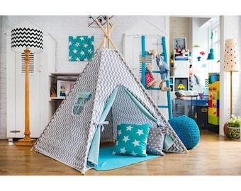 Tent tipi for children ZigZag white-gray