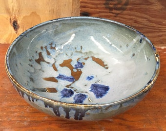 Porcelain Serving Bowl in Drippy Floating Blue - Handmade Wheel Thrown Pottery Fruit Bowl Blue Brown