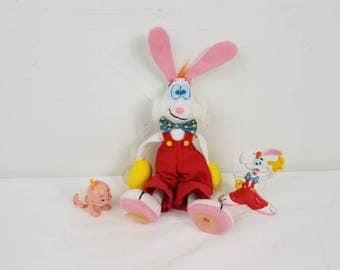 Vintage Who Framed Roger Rabbit PVC Figures Window Suction Cup plush lot / 80s movie / roger rabbit plush