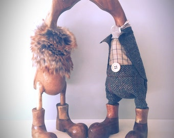 Country pair. Beautiful pair of ducks, using tweed and faux fur to dress.