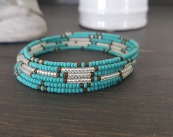 Turquoise bracelet, memory wire, Czech seeds beads, 5 rows, summer, yoga, beach