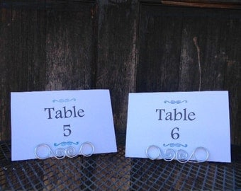 Wire Wedding Table Number Holder, Place Card Holder, Fancy Medium Wire Spiral Place Card Holders, Rustic Wedding, Name Card Holder, Wedding