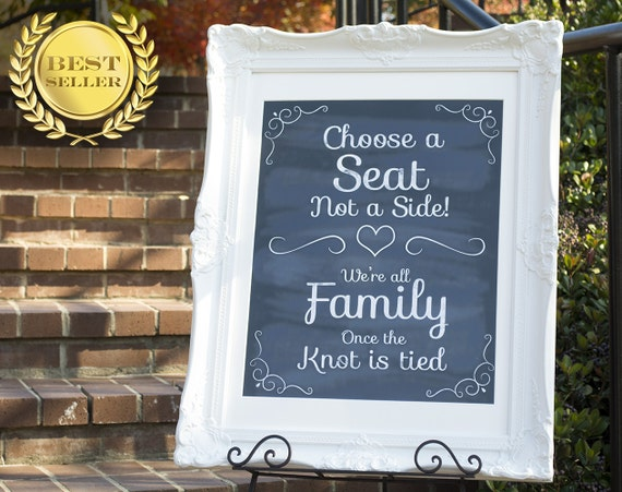 Pick A Seat Not A Side Wedding Seating Sign Wedding Ceremony