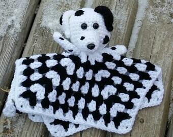 Dalmatian dog crochet lovey blanket/ security/ puppy