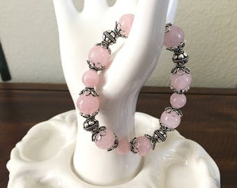 Madagascar Rose Quartz braelet with sterling silver Bali beads.