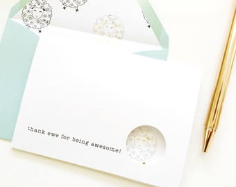 5 Thank You Note Cards   Sheep Card   Foiled Cards   Peek A Boo Notecards   Funny Thank You Card   Animal Card