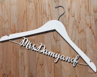 Wedding Gift, Personalized Wedding hanger, Bridal Hanger, Bridesmaid Dress, Dress photo prop, wedding photography, Navy Wedding vet0004
