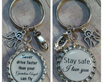 Guardian Angel Gift - Birthday Gift - Sweet 16 Gift - New driver Gift - Customized Gift - Custom Keychain - Gift for Her - Gift for Him