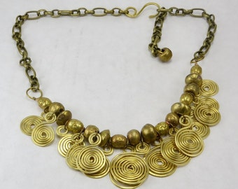 Hammered brass coil necklace