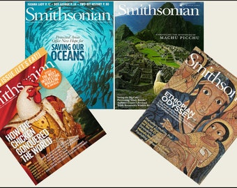 4 Miniature   'SMITHSONIAN'   Magazines  -  Dollhouse  1/6    1/12     1/24     1/48    playscale miniature accessory
