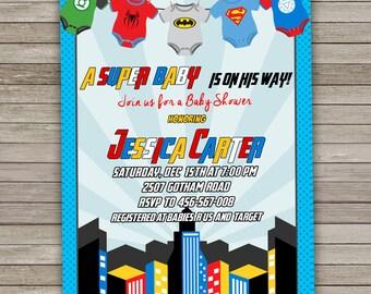 Superhero Baby Shower Invitation, Super hero Baby Shower Invitation, Baby Superhero Shower, Superhero Onesie, Superhero Invitation Printable
