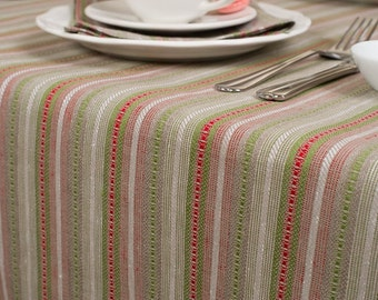 Christmas Linen Tablecloth, Red, Grey, Green linen table top, Linen table cover, Christmas Tablecloth