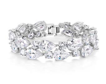 Statement Bracelet, Wedding Bracelet, Crystal Bracelet, Wedding Jewelry, Bridal Jewelry, CZ Bracelet, CZ Jewelry, Bridesmaids Bracelet
