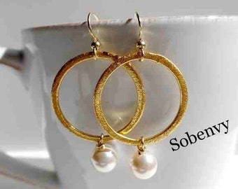 Gold Hoop Pearl Earrings, Drop Earrings, Elegant Earrings, Classy Chic