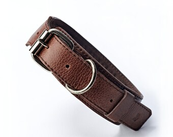 Leather Dog Collar, Soft Padded Interior, adjustable size, engrave your pet's name