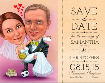 Save The Date CARICATURE card