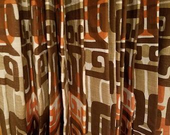 Fabulous Mid Century Modern Retro Vintage Curtains Tribal Geometric Pattern Orange and Brown Linen Fabric