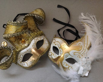 Masquerade Ball Mask Pair White Gold Feather Encrusted Venetian Style Jester Mask
