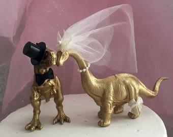"Dinosaur, Bride, Groom, Wedding, Cake Topper, Dinosaur Theme, T-Rex, Animal Cake Topper, Barn, Destination Wedding, 6"" round, Anniversary"