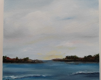 Seascape Original Oil Painting 8x8